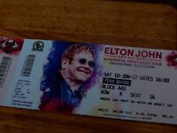 2 ELTON JOHN TICKETS 10TH JUNE EWOOD PARK PITCH SEATING BLOCK AA5 FRONT BLOCK NEAR CENTRE OF STAGE