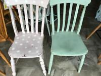 2 x shabby chic painted dining room kitchen chairs