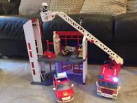 Playmobil firestation, Fire car and fire engine