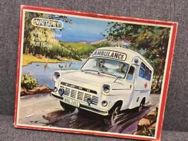 Rare vintage retro VICTORY HAND CUT WOOD JIGSAW PUZZLE AMBULANCE 1973 70s toy game SDHC