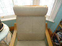 IKEA Poang Chair with 'Eggshell' leather seat cushion.