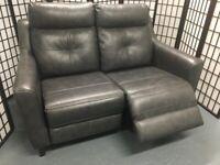 Ex-display GP Tisbury dark grey leather electric reclining 2-seater sofa