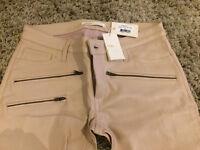 Brand New Maje Beige Trouser - 100% lambskin Leather slim cut - Size 6