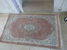Rectangular Indian Rug - Pink - Overall Size 160cm by 90 cm including fringing - in good condition