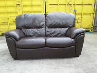 Dark Brown 2 Seater Leather Couch Sofa - DELIVERY AVAILABLE