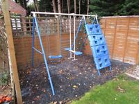 Children's play / climbing frame [two swings, climbing net and 'wall']