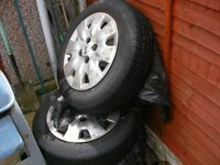 4 nearly new tyres 165/70/14 on steel wheels
