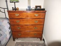Late Regency Flame Mahogany Chest of Drawers - 4 Drawer