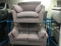 New/Ex Display Dfs Fabric 2/3 Seater Sofa + Love Chair