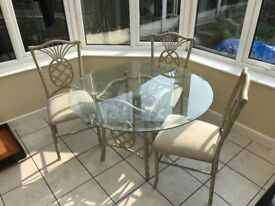 Cream glass dining table with 3 chairs