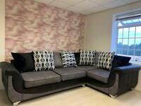 Como Fabric Corner Sofa in Black & Grey ** EX DISPLAY **