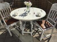 Vintage antique table and 2 chairs drop leaf barley twist white wood shabby chic