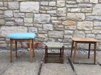 3 X ANTIQUE RETRO VINTAGE 1960s 'EGLIN' CHAIR PLANT STAND TABLE BARLEY TWIST STOOL £6 EACH