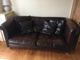 DESIGNER LEATHER SOFA AND ARMCHAIR