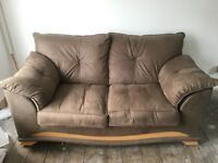 Two seater, Brown, faux suede sofa with foot stool