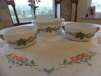Royal Worcester Evesham Gold 3 Bowls