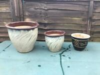 3 Various Sized Glazed Garden Flower Plant Pots