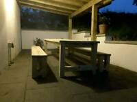 Patio table and benches set