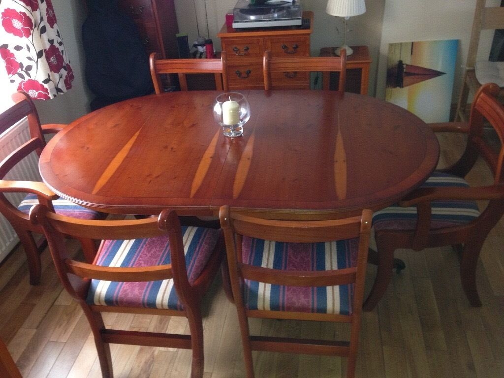 Yew Dining Room Furniture Yew Dining Room Table And 6 Chairs In Neath Neath Port Talbot