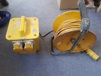3.3kva twin 16amp transformer and 24m 110v extension reel