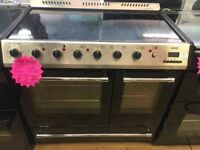 BELLING 90CM CEROMIC TOP ELECTRIC RANGE STYLE COOKER IN SILIVER