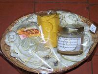 Beautiful honey/bee product gift baskets