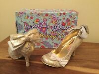 Irregular choice gold bow shoes - size 4