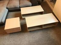 Set of coffee table, lamp table and TV unit