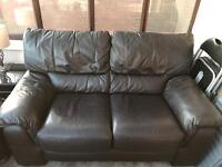 Dark brown 2 seater leather sofa