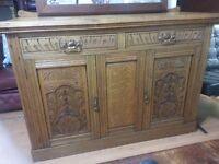 Lovely antique. large solid wood side board cbent.
