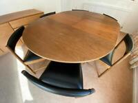 Dining Room Extendable Table/6 chairs - Teak, Teak Veneer and black vinyl - Mc