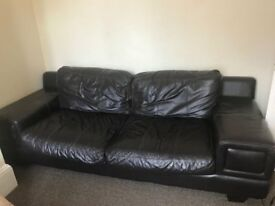 2 sofas (2 seater one leather one upholstery), dinning table with chairs for free.