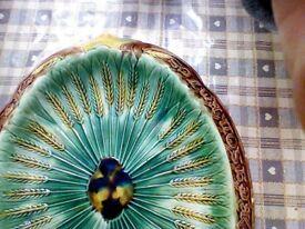 Majolica ceramic platter green and brown