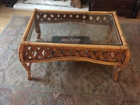 Cane glass topped conservatory coffee table