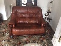 X2 leather 2 seater settees, and footstool. Excellent condition