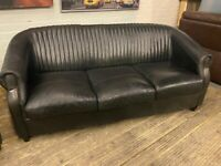 RETRO STYLE BLACK LEATHER SOFA 3 SEATER SMART NICE CONDITION + FREE DELIVERY