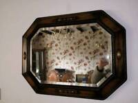 1930's Oak Octagonal bevelled edge mirror (free delivery)