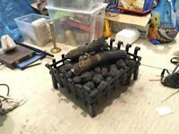 Gas Fire Basket (Dog Grate) and Ceramic Logs