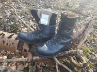 Austrian Army black leather boots - grade 1 & free unissued army socks!
