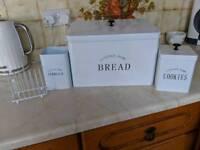 Set of toast rack,bread bin,utencil holder, biscuit tin