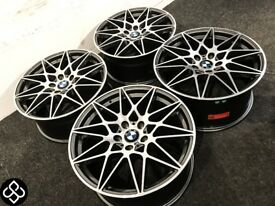 "BRAND NEW 18"" BMW COMPETITION PACK STYLE ALLOY WHEELS - 5 x120 - ORBIT GREY/ DIAMOND CUT FINSIH"