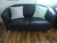 Brown leather tub sofa for sale 2 seater