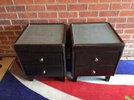 2 Black Leather Bedside Drawers