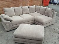 Cute Brand New Beige fabric corner sofa and footstool.or larger corner.can deliver