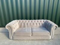French Velvet Chesterfield 3 seater sofa Like New £250 (Can Arrange Delivery)
