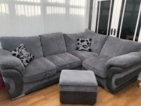 Large corner sofa with armchair and footstall