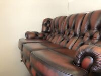 Leather chesterfield high back 3 seater 1 electric recliner