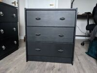 Two sets of Black painted IKEA drawers