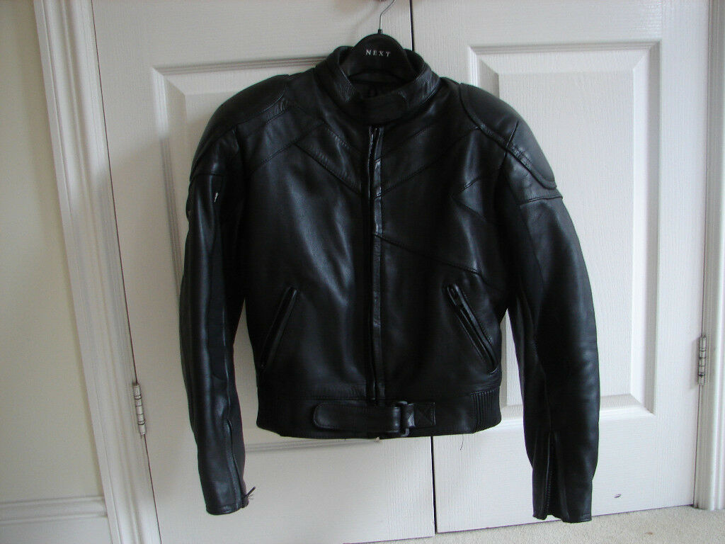 LADIES FRANK THOMAS LEATHER MOTORCYCLE JACKET - SIZE 10
