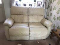Cream leather sofa x2 2 seater